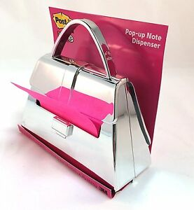 Post it Tm Chrome Purse Shaped Pop Up Notes Dispenser Pd 654 chrome