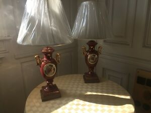 Pair Of Old English Porcelain Lamps Base Only