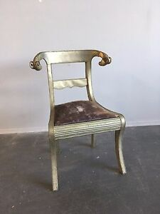 Vintage Unique Brass Ram S Head Metal Wrapped Regency Style Chair Empire