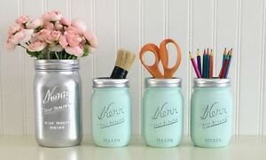 Mason Jar Desk Decor 4 Piece Set Silver And Aqua Makeup Office Accessories