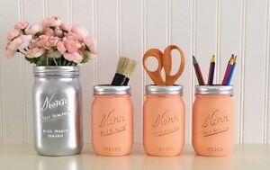 Mason Jar Desk Decor 4 Piece Set Silver And Peach Makeup Office Accessories