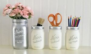 Mason Jar Desk Decor 4 Piece Set Silver And White Makeup Office Accessories
