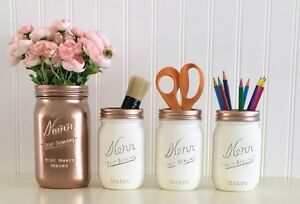 Mason Jar Desk Decor 4 Piece Set Rose Gold And White Office Accessories