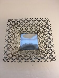 Square Reticulate Sterling Basket By Hayward Sweet