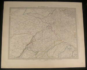 Northern India Delhi Agra Gharra River 1833 Antique Engraved Hand Color Map