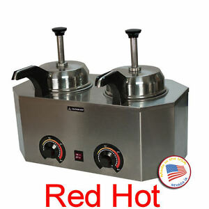 Paragon Double Nacho Warmer Dispenser Two Heated Spout Holds Two 10 Can 2029c