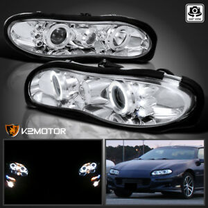 For 1998 2002 Chevy Camaro Clear Lens Led Halo Projector Headlights Left Right