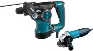 Makita 1 1 8 In Sds plus Rotary Hammer 7 5 Amp 4 1 2 In Angle Grinder And Case