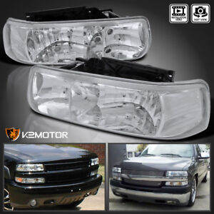 2000 2006 Chevy Suburban Tahoe Clear Headlights Diamond Head Lamps