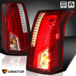 2003 2007 Cadillac Cts Chrome Red Led Bar Tail Lights Brake Lamps Left Right