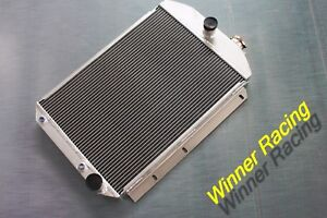 56mm Radiator For Chevy Hot Street Rod 350 V8 W Tranny Cooler 1937