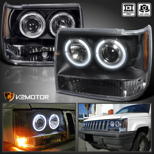 For 1993 1996 Jeep Grand Cherokee Halo Projector Headlights Lamps Black Pair
