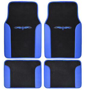 4pcs Set Bdk Car Carpet Floor Mats Black Blue Extra Thick Carpet