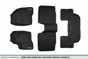 2011 2014 Explorer W o 2nd Row Console Floor Mats Black 1st 2nd 3rd Row Liners