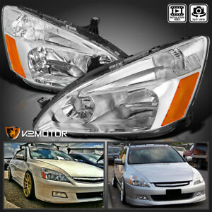 For Honda 2003 2007 Accord Crystal Clear Headlights Turn Signal Lamps Left right