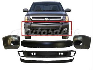 For 2007 13 Silverado 1500 Front Bumper Black Face Bar End Valance W Fog Hole 5p