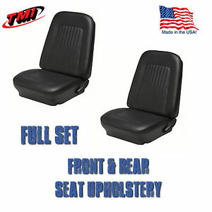 1967 1968 Camaro Front And Rear Seat Upholstery Black Vinyl Made In Us By Tmi