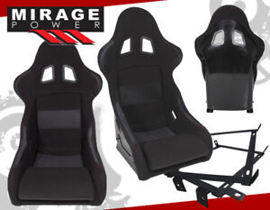 Light Weight Black Racing Bucket Seat Red Stitching Pair For 96 00 Honda Civic