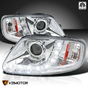 1997 2004 Ford F150 Expedition Chrome Housing Led Strip Projector Headlights
