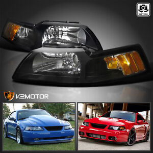 For 1999 2004 Ford Mustang V6 Gt Svt Cobra Black Headlights Left Right