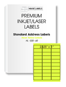 600 Sheets 18000 Labels Neon Yellow Fast Peel Address Mailing 1 X 2 5 8 30 Up