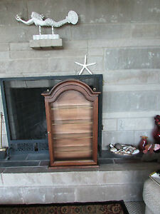 Horchow Curio Cabinet Italy Italian Shelf Brown Wood Glass Quality Neiman Marcus