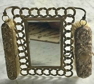 Victorian Brass Dressing Mirror 2 Brushes From England