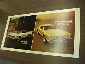 Oem Ford 1976 Gran Torino Elite Thunderbird Showroom Poster Display
