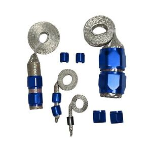 Blue Stainless Steel Braided Hose Engine Dress Up Kit Radiator Vacuum Fuel Oil