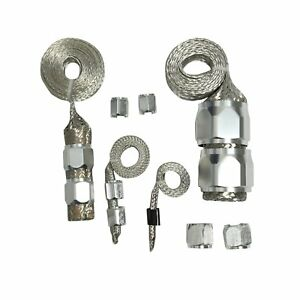 Silver Engine Dress Up Braided Hose Kit For Radiator Vacuum Fuel Oil