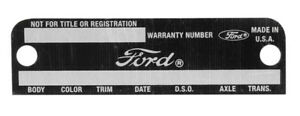 New Fairlane Mustang Warranty Tag Data Plate 1968 1969 Stamped Door Info Body