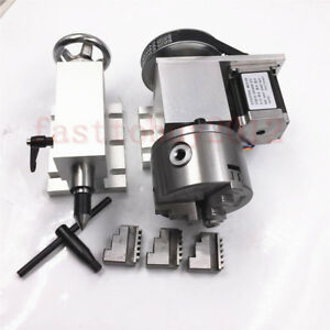 A axis 4th axis Cnc Router Rotational Rotary Axis Tailstock Chuck 100mm 3 jaw