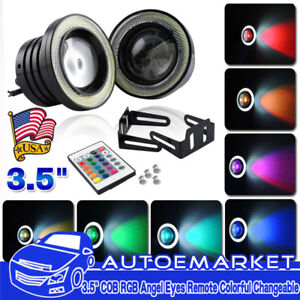 3 5 Multi color Rgb W Cob Led Angel Eye Halo Rings Drl Fog Light For Dodge Usa