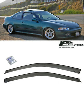 For 92 95 Honda Civic Coupe 2dr Smoke Tinted Windows Visor Rain Guard Eg Si