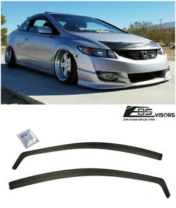 In channel Vent Side Window Visors Jdm Si Oe For 06 11 Honda Civic 2dr Coupe
