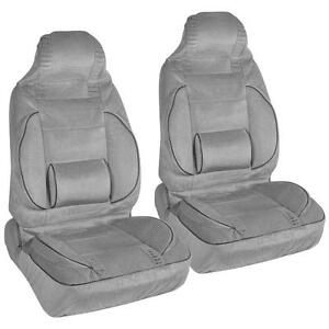 Gray 2pc High Back Bucket Seat Covers Set Built In Lumbar Support Cushion