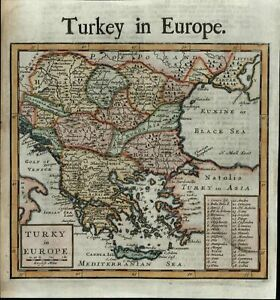 Turkey In Europe Balkans Greece Serbia Anatolia Hungary C 1720 Moll Old Map