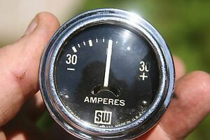 Vintage Stewart Warner 2 1 16 Amp Gauge Big Large Block Logo Curved Glass