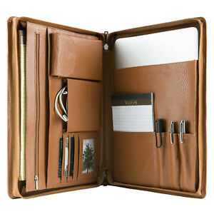 Genuine Cowhide Leather Portfolio Zippered Organizer Pad Card Holder Case Folder