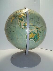 Vintage Nystrom Large 16 Readiness Sculptural Relief World Globe Plastic School