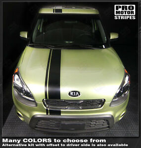For Kia Soul 2008 2018 Over Top Offset Sport Stripes Decals choose Color
