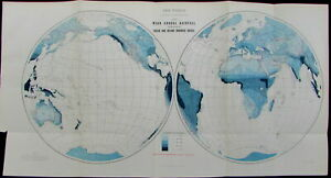 World Map Mean Annual Rainfall Ocean Drainage Areas 1887 Old Antique Map Color
