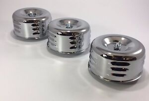Set Of 3 Chrome Louvered Air Cleaner Assembly 1 2 Bbl Barrel Carburetor Hot Rod