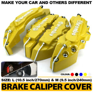 3d Brake Caliper Covers Style Disc Universal Car Front Rear 4pc Yellow 10 5 Cy1