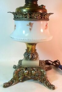 Antique Banquet Lamp Electrified Cherubs Angels Cupids Victorian Rococo