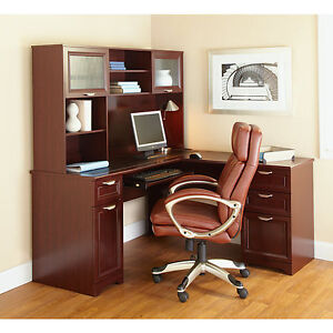 New L shaped Office Desk Hutch computer Executive Cherry Free Delivery
