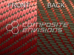 Reversible Carbon Fiber Red Kevlar Fabric 3x1 Twill 50 3k Remnant Roll 217
