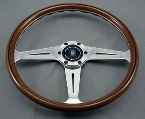 Nardi Classic Wood Steering Wheel 367mm Polished Side Spokes Screws At Sight