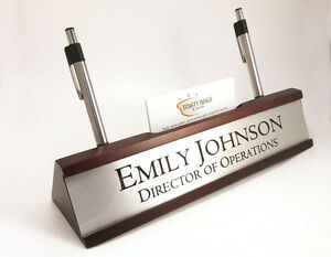 Personalized Desk Name Plate Card Pen Holder Mahogany Color Silver Insert