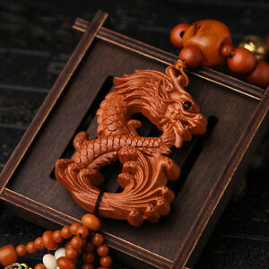 Dragon Loong 3d Wood Carved Chinese Feng Shui Kallaite Amber Beads Car Pendant